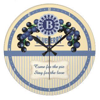 Custom color kitchen clock vintage blueberries