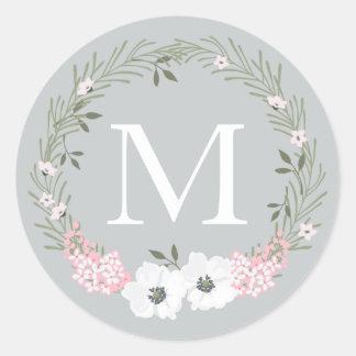 Custom Color Monogram Circular Sticker Pink Floral
