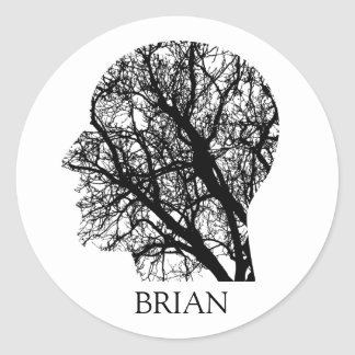 Custom Color/Name Abstract Brain Tree Head Sticker