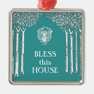 Custom Color Nouveau Angel Bless this House Metal Ornament
