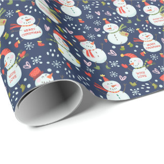 Custom Color Personalized Holly Jolly Snowmen Wrapping Paper