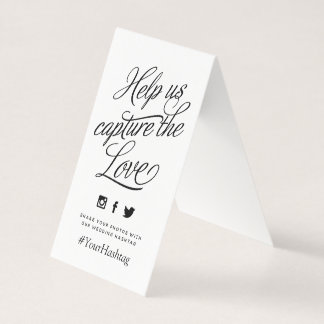 Custom Color Personalized Wedding Hashtag Sign Card