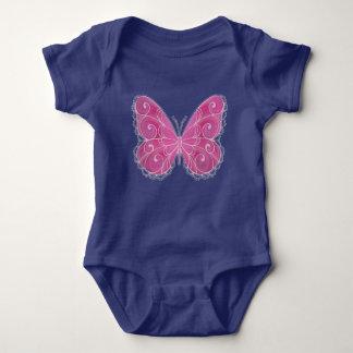Custom Color Pink Swirl Butterfly One-zee Baby Bodysuit