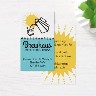 Custom color pouring coffee pot breakfast cafe business card