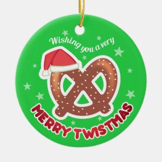 Custom color pretzel foodie Christmas ornament