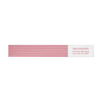 Custom Color Red White Stripes Wraparound Return Address Label