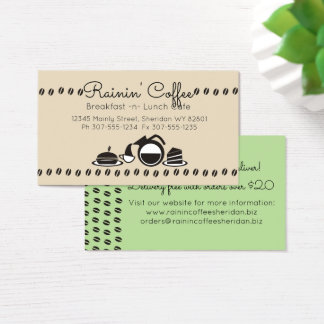 Custom color retro coffee sandwich lunch catering business card