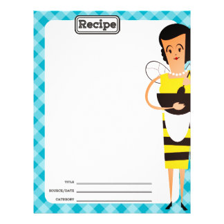 Custom color retro housewife bee recipe letterhead