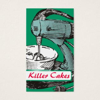 Custom color retro stand mixer baking bakery card