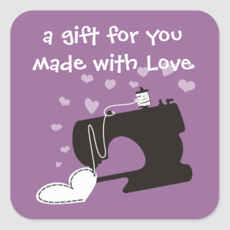 Custom color sewing machine stitching heart label