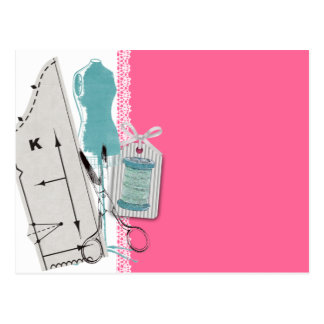 Custom color sewing pattern dress dummy gift card postcard