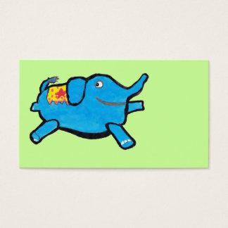 Custom Color Silly Blue Elephant Business Card