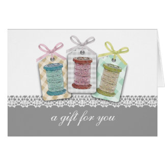 Custom color spools of thread sewing seamstress card