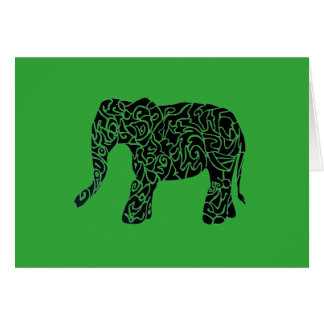 Custom Color/Text Tribal Elephant Greeting Card