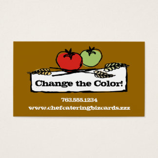 Custom color tomato wheat vegan cooking biz cards