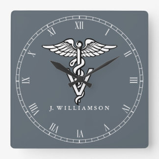 Custom Color Veterinary Medicine Symbol Square Wall Clock