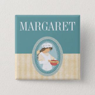custom color vintage bakery girl baking name badge 2 inch square button