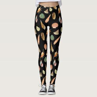Custom Color Vintage Colorful Seashell Black Leggings