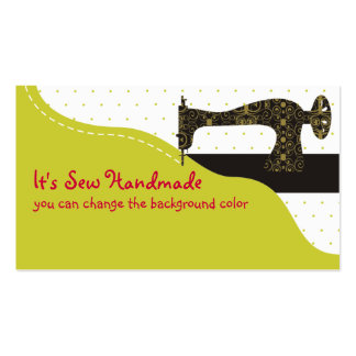 Custom color vintage sewing machine fabric business card