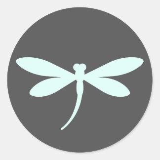 Custom Colored Dragonfly Stickers w/ Dark Gray BG