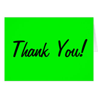 Custom colored Neon Green Thank You Card