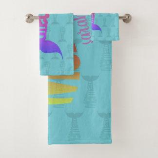 Custom Colorful Rainbow Mermaid Bathroom Towel Set