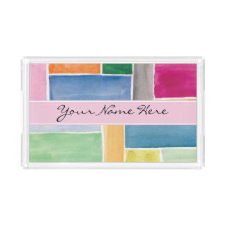 Custom Colorful Watercolor Rectangles Acrylic Tray