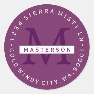 Custom Colors Monogram Circular Return Address Classic Round Sticker