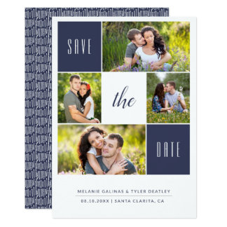 Custom Colour 4 Photo Collage Save the Date Card