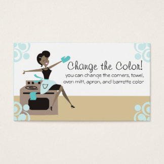 Custom colour African American woman cooking Business Card
