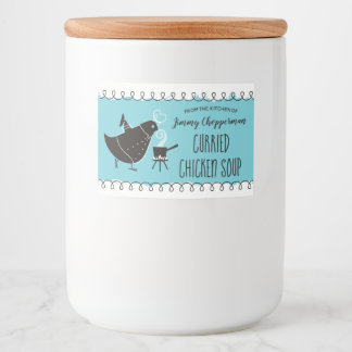 Custom colour bird chef soup canning label