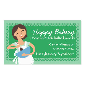 Custom colour brunette woman mixing bowl bakery business card