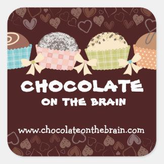 Custom colour chocolate truffles confections candy square sticker