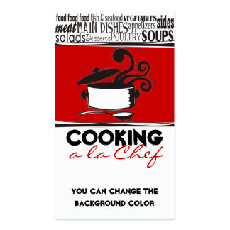 Custom colour cooking pot curling steam chef card pack of standard business cards