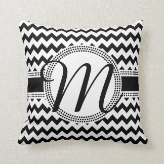 Custom Colour Cursive Monogram Black and White Throw Pillow