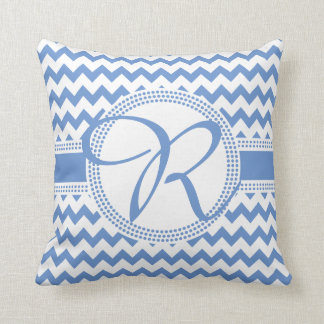 Custom Colour Cursive Monogram Blue and White Throw Pillow