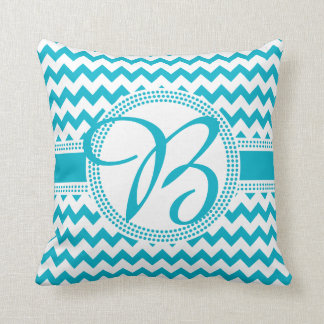 Custom Colour Cursive Monogram Green and White Throw Pillow