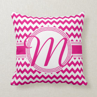 Custom Colour Cursive Monogram Hot Pink and White Throw Pillow