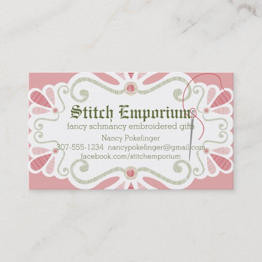 Custom colour embroidery needle thread sewing business card zazzle custom colour embroidery needle thread sewing business card colourmoves