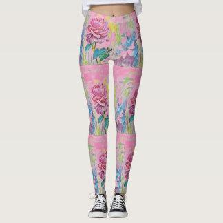 custom colour floral leggings