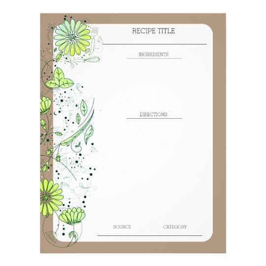 Custom colour flowers utensils recipe letterhead