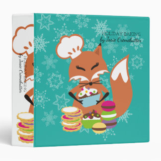 Custom colour fox pastry chef Christmas cookbook 3 Ring Binders