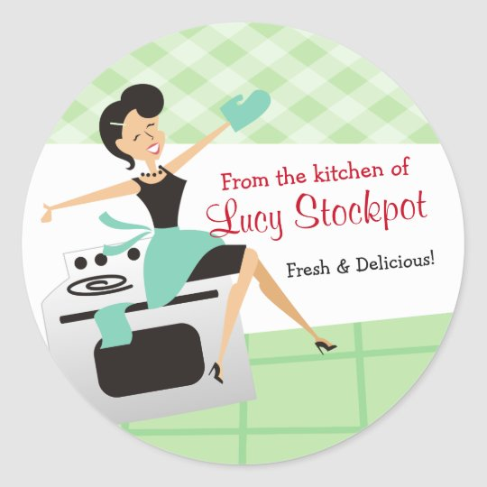 Custom colour housewife cooking baking food label
