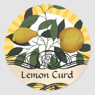 Custom colour lemon branch fruit canning label round sticker