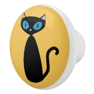 Custom Colour Mod Cat - cabinet knob Ceramic Knob
