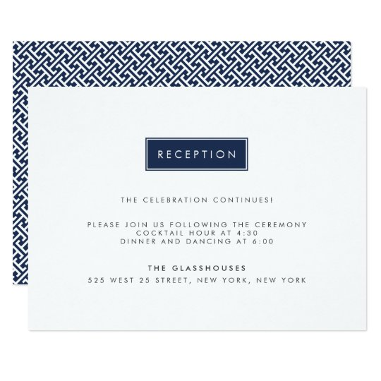 Custom Colour Modern Wedding Reception Card
