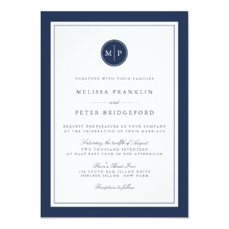 Custom Colour Monogram Wedding Invitation