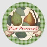 Custom colour pear tree fruit canning label round stickers