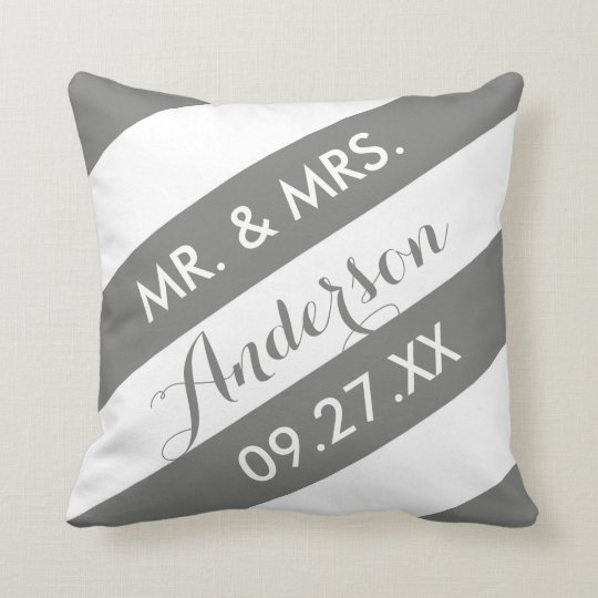 Custom Colour Personalized Throw Pillow / Grey