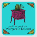 Custom colour pop art vintage stove gift tag label square stickers